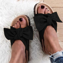 Load image into Gallery viewer, Low Flat Heels Bowknot Flocking Slip-Ons Sandals