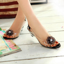 Load image into Gallery viewer, Girly Crystal See-Through Rhinestone Flower Wedges Sandals