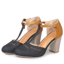 Load image into Gallery viewer, Color Block T-Bar High Heels Sandals
