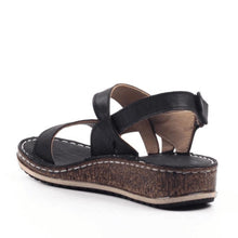 Load image into Gallery viewer, Low Wedge Heel Hook&Loop Hollow Open Toe Sandals