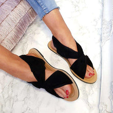 Load image into Gallery viewer, Women Summer Beach Shoes Strap Peep Toe Flat Plus Size Sandals