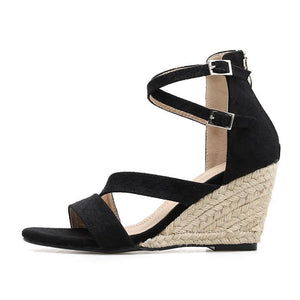 Fashion Flocking Buckle Straw-weave High Wedges Heel Sandals