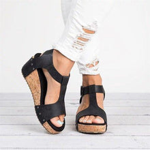 Load image into Gallery viewer, Peep Toe Shiny Upper PU Buckle Wedges Sandals