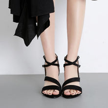 Load image into Gallery viewer, Fashion Flocking Buckle Straw-weave High Wedges Heel Sandals