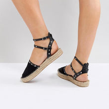 Load image into Gallery viewer, Flocking Upper Round Toe Band Strap Rivet Sandals