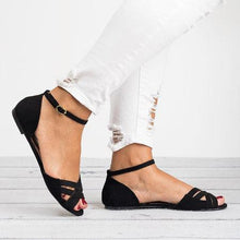 Load image into Gallery viewer, Women Buckle Strap Peep Toe Flat Sandals