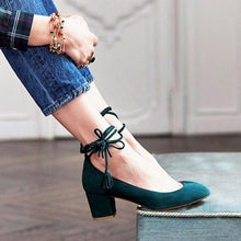 Load image into Gallery viewer, Solid Flocking Ankle Tassle Lace-Up High Chunky Heels Point Toe Stilettos