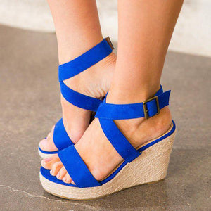 Women Wedge Sandals Criss Cross Strap Adjustable Buckle Shoes
