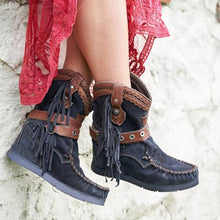 Load image into Gallery viewer, Vintage Round toe Slip on Tassel Boots