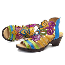 Load image into Gallery viewer, Women Chunky Heels Hollow-Out Magic Tape Peep Toe Sandals