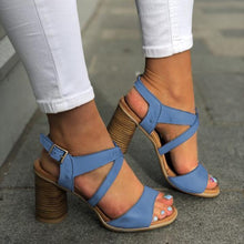 Load image into Gallery viewer, Summer Women High Chunky Heels Crisscross Buckle Sandals