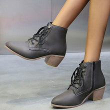 Load image into Gallery viewer, Lace-Up Pu Med Chunky Heel Ankle Booties