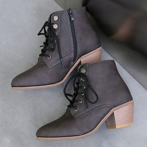 Lace-Up Pu Med Chunky Heel Ankle Booties