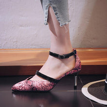 Load image into Gallery viewer, Snakeskin Pattern Pu Cone Heel Pointed Toe Cocktail Party Heels