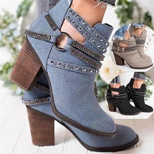 Load image into Gallery viewer, Elegant Point Toe Rhinestone Ankle Boots