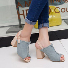 Load image into Gallery viewer, Color Block Chunky High Heeled Denim Ankle Strap Peep Toe Date Sandals