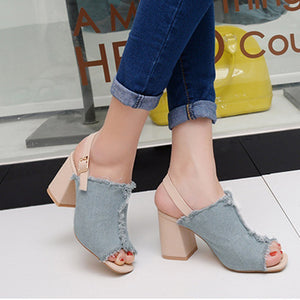 Color Block Chunky High Heeled Denim Ankle Strap Peep Toe Date Sandals