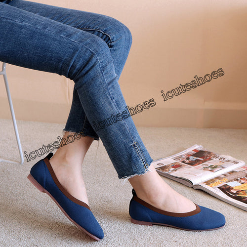 Summer Autumn Flat Heel Shoes Ballet Flats Square Toe Slip On Stretch Cozy Loafers Women