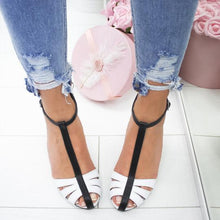 Load image into Gallery viewer, Color Block Chunky High Heeled Peep Toe Date Travel Sandals