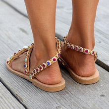 Load image into Gallery viewer, Boho Casual PU Flat Heel Summer Sandals