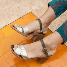 Load image into Gallery viewer, Cross Strap Chunky Heel Peep Toe Summer Heels