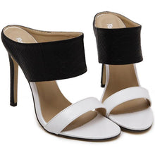 Load image into Gallery viewer, COLOR BLOCK SLIP-ON STILETTO HEEL OPEN TOE SANDALS