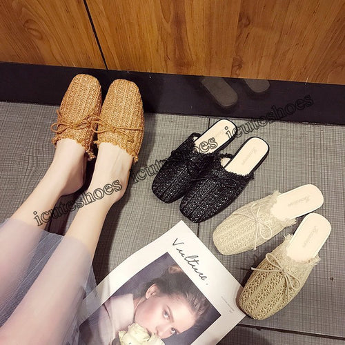 Bowknot hemp rope women wear flat bottom Korean slippers new cool solid color