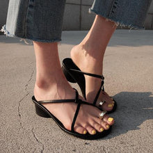 Load image into Gallery viewer, PU Chunky Heel Slip-On Flip Flop Sandals