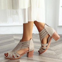 Load image into Gallery viewer, Ladies Peep Toe Hollow Out Sandals