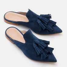Load image into Gallery viewer, Velvet Upper Point Toe Tassle Mule Sandals