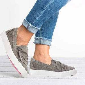 Women Casual Button Comfy Closed Toe Flat Heel Sneakers