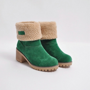Female Winter Shoes Fur Warm Snow Boots Square Heels Ankle Boots