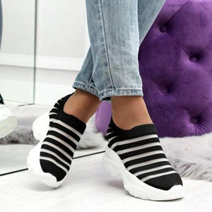 Women Low Heel Mesh Round Toe Fashion Sneakers