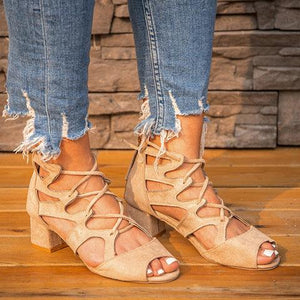 Lace-Up Faux Suede Chunky Heel Sandals