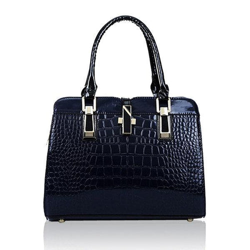 Crocodile Pattern Patent Elegant Handbag Casual Shoulder Bag