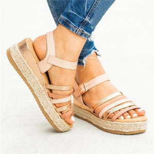 Colorblocked Strips With Platform Sandals
