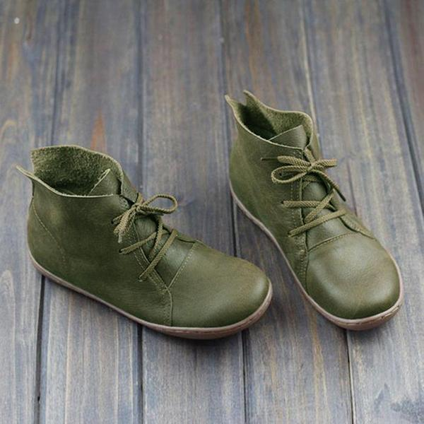 Vintage Solid Color Lace-Up Ankle Flat Boots