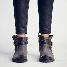 Load image into Gallery viewer, Vintage All Season Low Heel Ankle Boots Daily Adjustable Buckle PU Booties