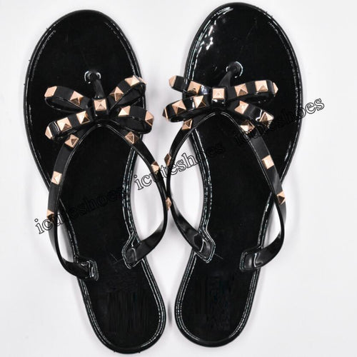 Fashion Woman Flip Flops Summer Shoes Cool Beach Rivets big bow flat sandals