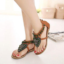 Load image into Gallery viewer, SOCOFY Rhinestone Clip Toe Bohemia Flat Sandals