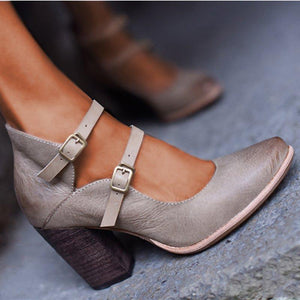 Women Casual Vintage Chunky Heel Buckle Sandals