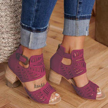 Load image into Gallery viewer, WOMEN CHUNKY HEEL ADJUSTABLE BUCKLE SANDALS CASUAL SHOES