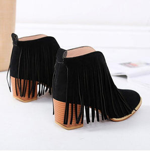Plain Chunky High Heeled Velvet Round Toe Date Outdoor Ankle Boots