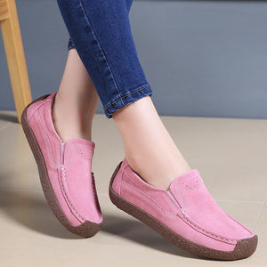 Women Faux Suede Non-slip Slip on Flat Shoes