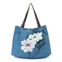 Load image into Gallery viewer, Hand Painted Flower Handbag Vintage Chinese Style Shopping Bag