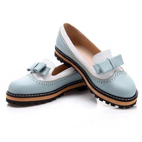 Women Spring Autumn Round Toe PU Slip on Bowknot Casual Low Heel Flats Loafers