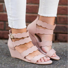 Load image into Gallery viewer, Plain Peep Toe Casual Date Wedge Sandals
