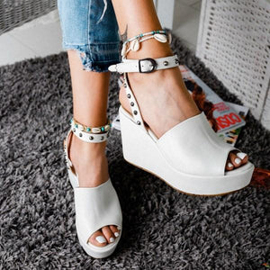 Women Buckle Strap Open Toe Sandals