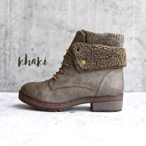 Handmade Leather Knit Cuff Ankle Boots