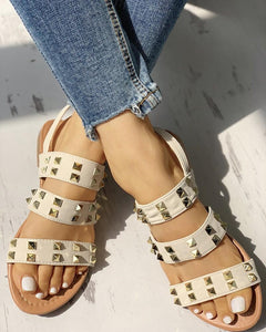 Rivet Multi-Strap Slingback Flat Sandals